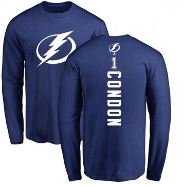 Men's Mike Condon Tampa Bay Lightning Backer Long Sleeve T-Shirt - Royal
