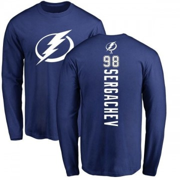 Men's Mikhail Sergachev Tampa Bay Lightning Backer Long Sleeve T-Shirt - Royal