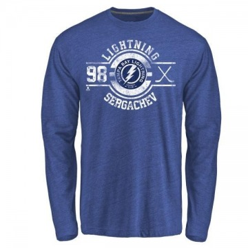 Men's Mikhail Sergachev Tampa Bay Lightning Insignia Tri-Blend Long Sleeve T-Shirt - Royal