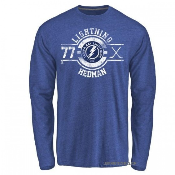 34384ab31d Men's Victor Hedman Tampa Bay Lightning Insignia Tri-Blend Long Sleeve  T-Shirt - Royal