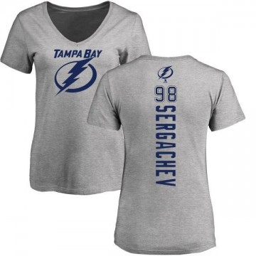 Women's Mikhail Sergachev Tampa Bay Lightning Backer T-Shirt - Ash