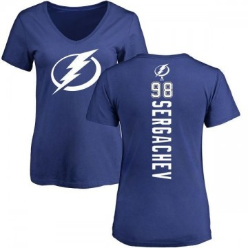 Women's Mikhail Sergachev Tampa Bay Lightning Backer T-Shirt - Blue