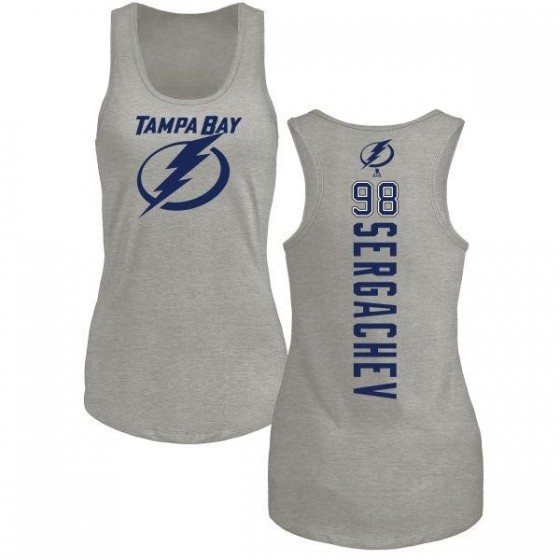 Women's Mikhail Sergachev Tampa Bay Lightning Backer Tri-Blend Tank Top - Ash